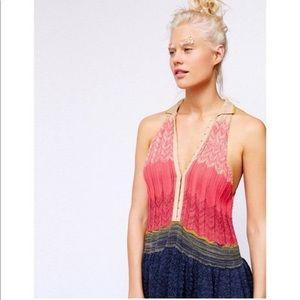 Free People Knit  eye & hook rainbow top size S
